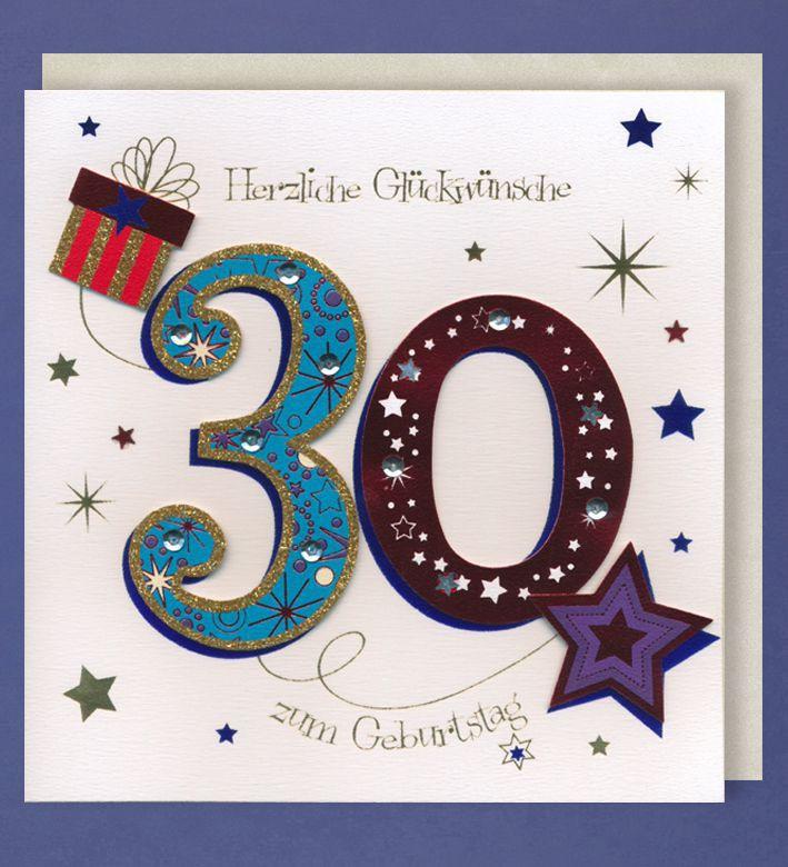 Grußkarte 30 Geburtstag Handmade Accessoires Applikationen Glückwunschkarte 30 in bunt 21 x 21 cm