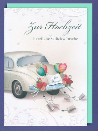 Riesen Grußkarte Hochzeit A4 Handmade Accessoires Applikationen Auto Just Married 29 x 21 cm