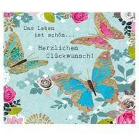 Grußkarte Geburtstag Swarovski Elements PopShot Glückwunsch Leben Schmetterlinge 8x8cm