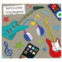 Grußkarte Geburtstag Swarovski Elements PopShot Glückwunsch Leben Musik 8x8cm