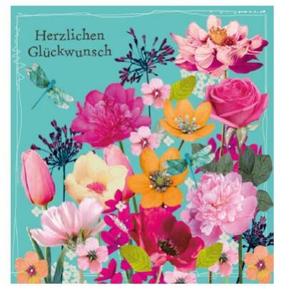 Grußkarte Geburtstag Swarovski Elements PopShot Glückwunsch Blumen Wiese 8x8cm