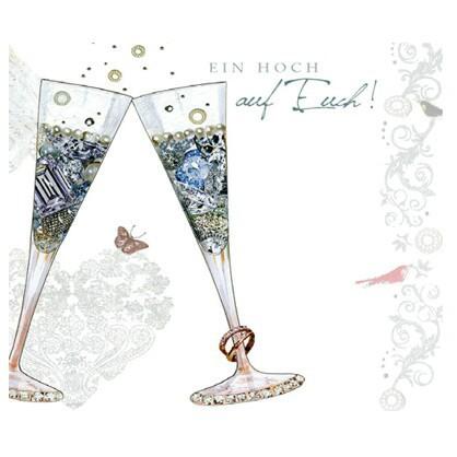 Grußkarte Geburtstag Hochzeit Swarovski Elements PopShot Sektgläser 8x8cm