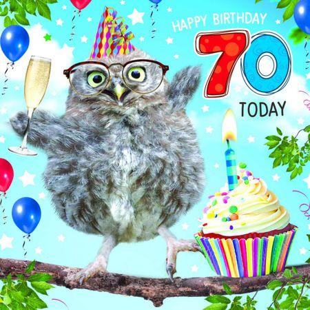 Grußkarte Geburtstag 70 Tracks Humor Eule Geburtstagskuchen 16x16cm