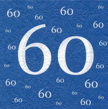 Servietten 60 Geburtstag mit Prägung blau 20 Stück, 3-lagig 33x33cm