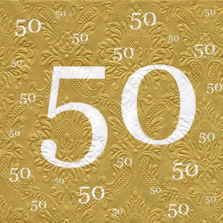 Servietten 50 Goldhochzeit mit Prägung 20 Stück, 3-lagig 33x33cm