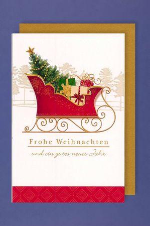 Weihnachten Grußkarte Neujahr AvanPremium Applikationen Kutsche 16x11cm