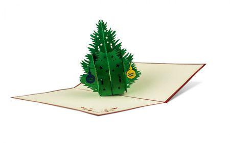 Weihnachten 3D Pop Up Grußkarte Handmade Weihnachtsbaum 17x10cm