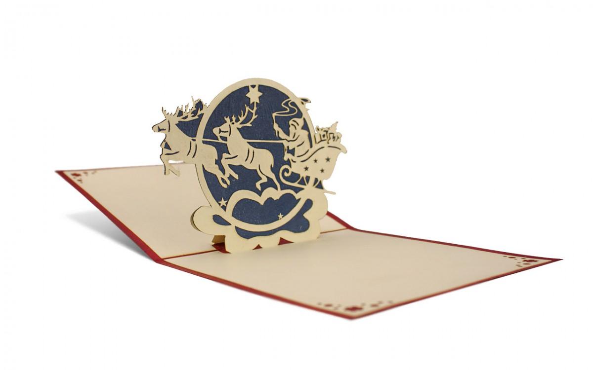 Weihnachten 3D Pop Up Grußkarte Handmade Weihnachtsmann 12x12cm
