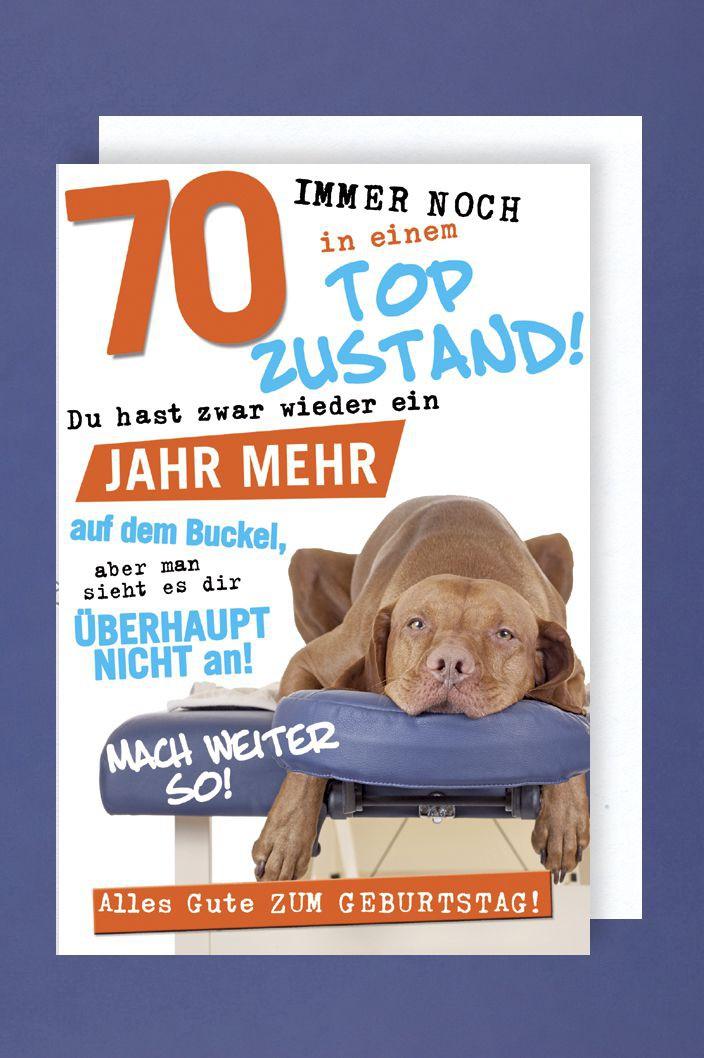 Geburtstag 70 Grußkarte AvanFun Tiermotive Relax Hund 16x11cm