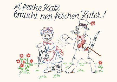 Postkarte Heide Singende Sofakissen A`fesche Katz braucht nen feschen Kater! C6