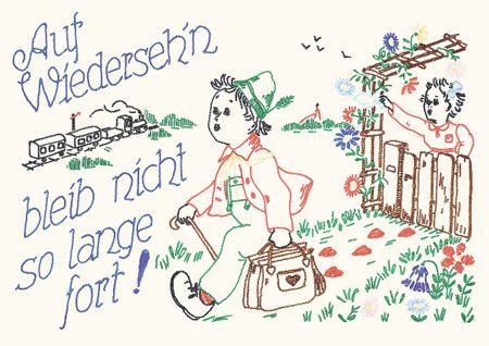 Postkarte Heide Singende Sofakissen Auf Wiedersehen bleib nicht so lange fort! C6