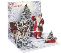 Pop Up 3D Weihnachten Karte PopShot Santa Claus mit 2 Rentieren 13x13 cm