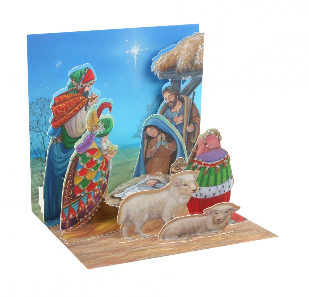 Pop Up 3D Weihnachten Karte PopShot Drei Heilige Könige und Krippe 13x13 cm
