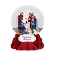 Pop Up 3D Weihnachten Schneekugel Grußkarte PopShot Krippe 9x13cm
