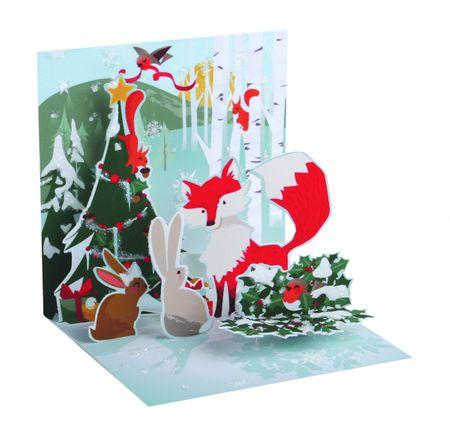 Pop Up 3D Weihnachts Mini Grußkarte PopShot Fuchs Tierwelt 7,6x7,6cm