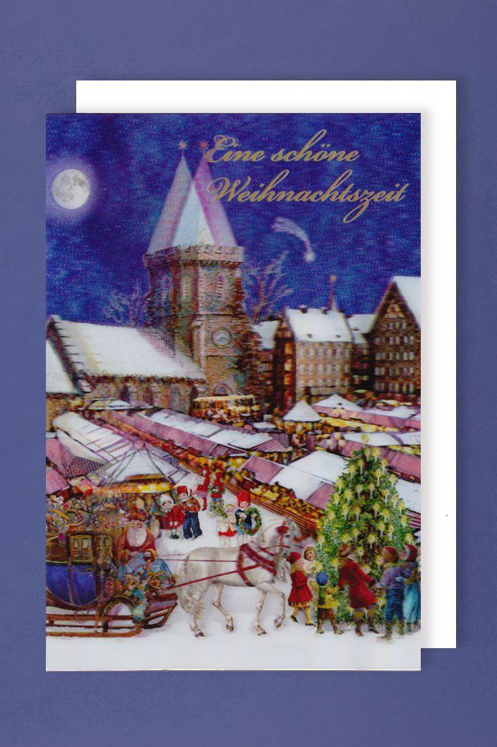 Weihnachten 3D Karte Grußkarte Weihnachtsmarkt 17x11cm
