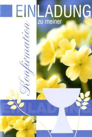 Konfirmation Einladungen Karte 5 er Mehrstückpackung Beutelware Kelch Blumen 5 Doppel Karten