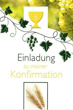 Konfirmation Einladungen Karte 5er Mehrstückpackung Wein Ähren 5 Doppel Karten 15 x 11cm