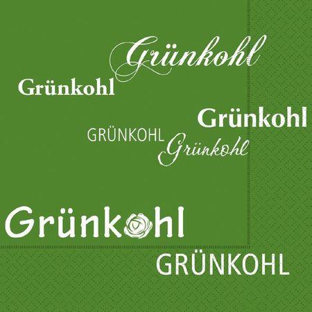 Kohlfahrt Servietten Text exclusiv hochwertig Kohl Pinkel grün 20 Stück, 3-lagig 33x33cm