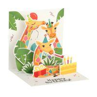Pop UP 3D Kinder Geburtstag Mini Grußkarte PopShot Zoo Giraffen 7,6x7,6cm