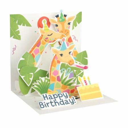 Pop Up 3D Geburtstag Grußkarte PopShot Zoo Giraffen 13x13cm