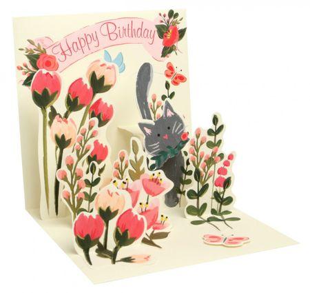 Pop Up 3D Geburtstag Grußkarte PopShot Blumenwiese Katze 13x13cm