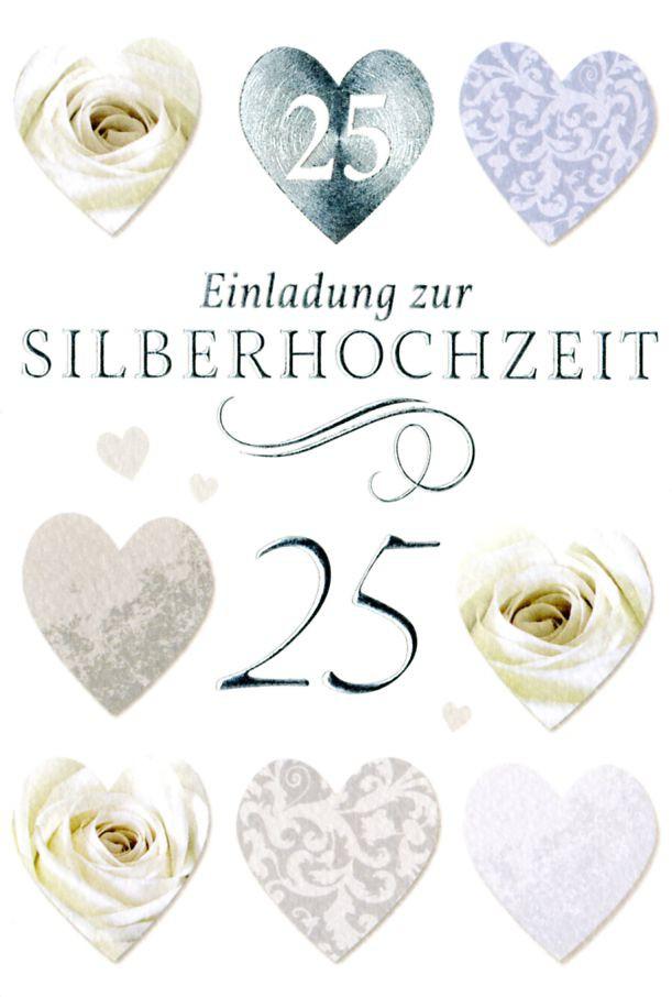 Einladung 25 Silberhochzeit Grußkarte 5er Mehrstückpackung Herzen Rosen 5  Doppelkarten C6