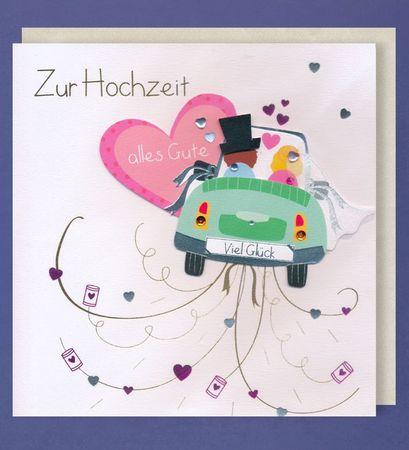 Grußkarte Hochzeit Handmade Accessoires Applikationen Glückwunschkarte Hochzeitsauto 21 x 21 cm