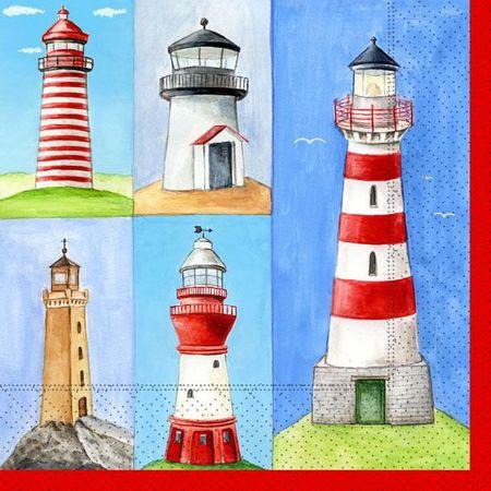Servietten Maritim Leuchtturm Meer Küste 20 Stück, 3-lagig 33x33cm