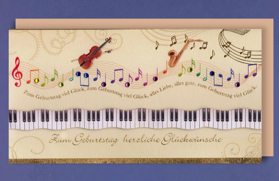 Grußkarte Geburtstag Handmade Applikationen Musikinstrumente Noten Musik 21x11cm