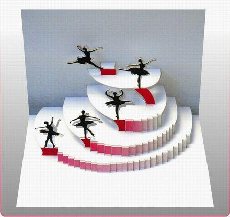 Pop Up 3D Karte Tanzen Grusskarte Geburtstag Gutschein Ballet Tanzschule 16x11cm