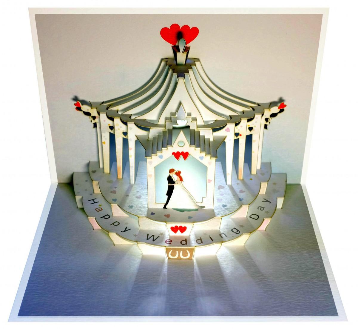 pop up 3d karte hochzeit grusskarte geburtstag gutschein pavillon hochzeitstag 16x11cm 509008. Black Bedroom Furniture Sets. Home Design Ideas