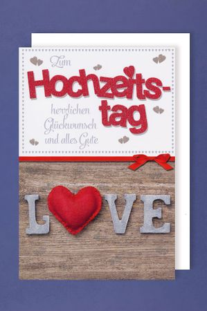 Hochzeitstag Grußkarte AvanGlitter zum Hochzeitstag alles Gute Holz Love 16x11cm