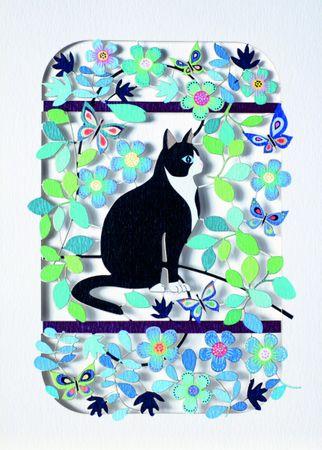 Katzen Laser Cut Karte 3D Grußkarte scharz-weißer Kater im Blumenmeer Gutschein 16x11cm