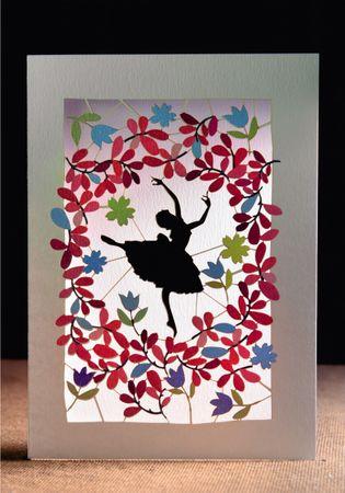 Tänzerin Laser Cut Karte 3D Grußkarte Ballerina Tanzschule Konzert Ausgehen Gutschein 16x11cm
