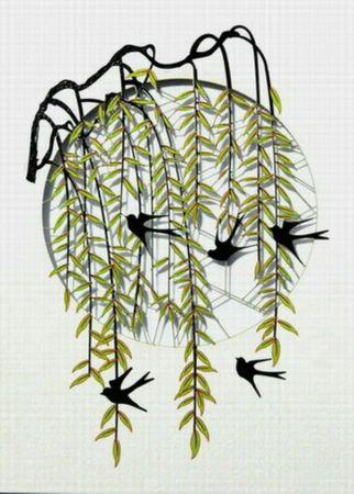 Trauerkarte Laser Cut Karte 3D Grußkarte Vögel Trauerweide Stimmungskarte 16x11cm