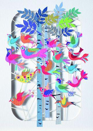 Geburtstag Laser Cut Karte 3D Grußkarte Vögel zwitschern im Wald Einladung 16x11cm