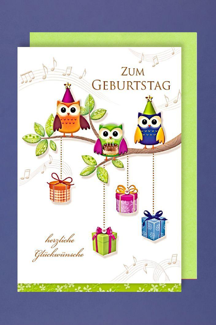 Geburtstag Grußkarte AvanPremium Applikationen Accesoires Geschenke Eulen Noten16x11cm
