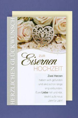 Eiserne Hochzeit 65. Hochzeitstag Grußkarte Zwei Herzen haben sich gefunden 16x11cm