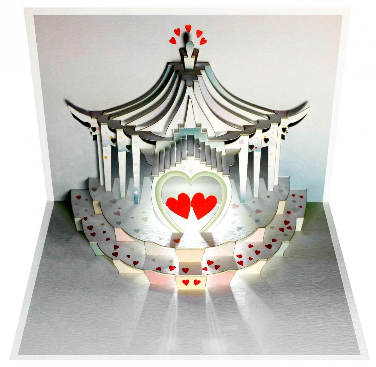 Pop Up 3D Karte Hochzeit Grusskarte Geburtstag Gutschein Pavilion Liebespaar 16x11cm