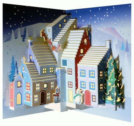 WE Pop Up 3D Karte Weihnachten Grußkarte Schneemann und Santa im Weichnachtsdorf 16x11cm