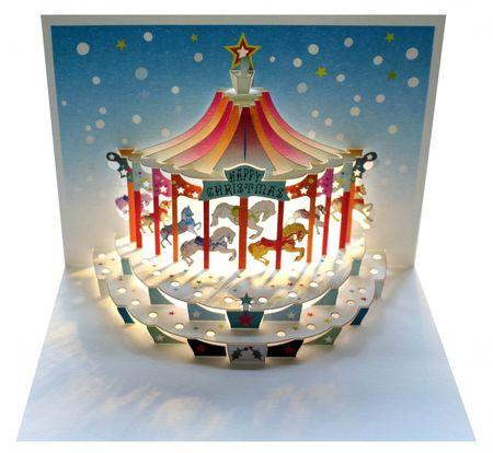 WE Pop Up 3D Karte Weihnachten Grußkarte Kinderkarussel Weihnachtsträume 16x11cm