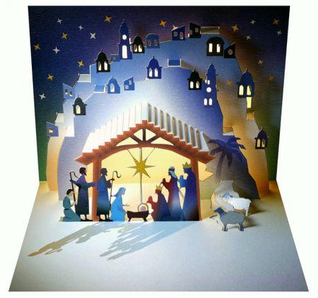 WE Pop Up 3D Karte Weihnachten Grußkarte Weihnachtskrippe Maria Josef Stall 16x11cm