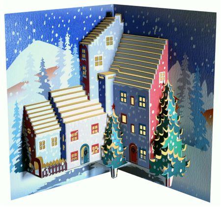 WE Pop Up 3D Karte Weihnachten Grußkarte Tannen im Schnee Häusern 16x11cm
