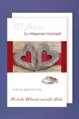 Hölzerne Hochzeit Grußkarte Hochzeitstag 10 Jahre zwei hölzerne Herzen Ringe 16x11cm