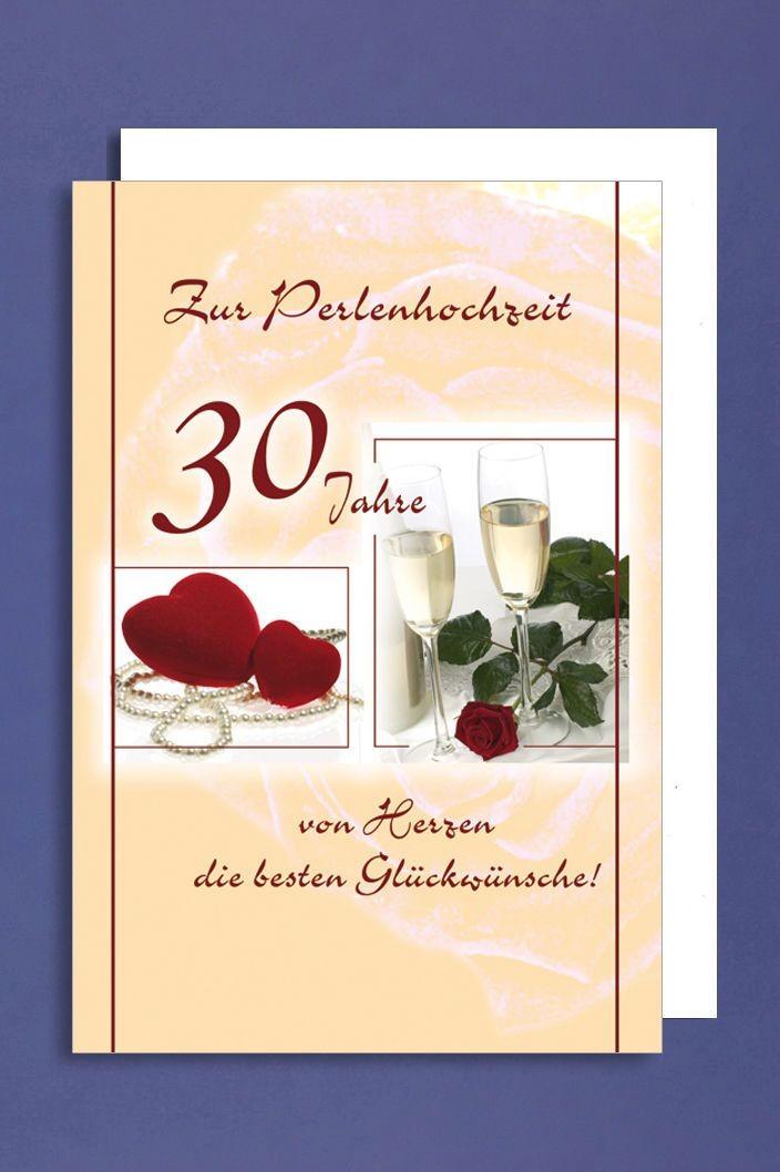 Perlenhochzeit Grusskarte Hochzeitstag 30 Jahre Sektglaser Rote