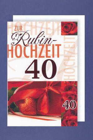 Rubinhochzeit Grußkarte Hochzeitstag 40 Jahre rotes Herz Rosen Schleife 16x11cm