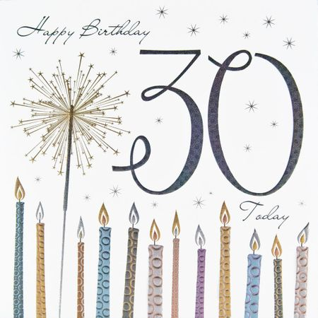 Qualitäts Grußkarte 30 Geburtstag Tracks Metallic Druck Wunderkerze mit Kerzen 16x16cm