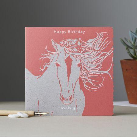 Pferde Karte Mädchen Geburtstag Grußkarte Kinder Reiten Lovley Girl Rosa 15x15cm