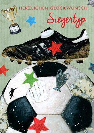 Swarovski Elements Geburtstag Männer Grußkarte Handmade PopShot Fußball Siegertyp 12x17 cm